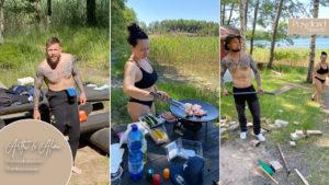 Arttu ja grillin kokoaminen mökillä
