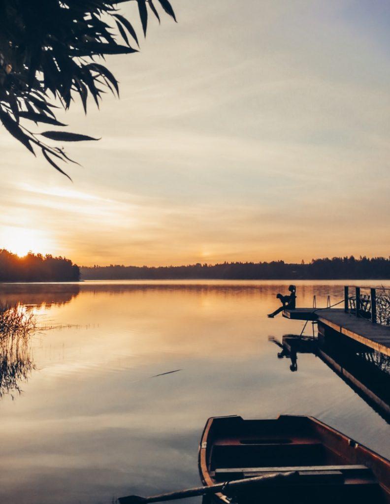 auringonnousu, järvi, poseland
